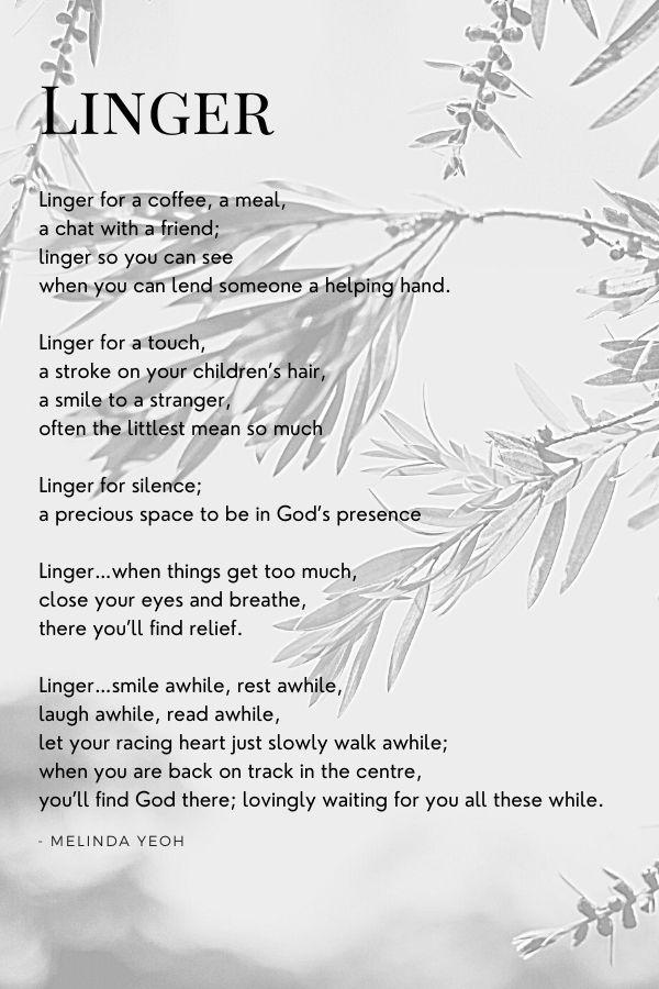 Linger, poem
