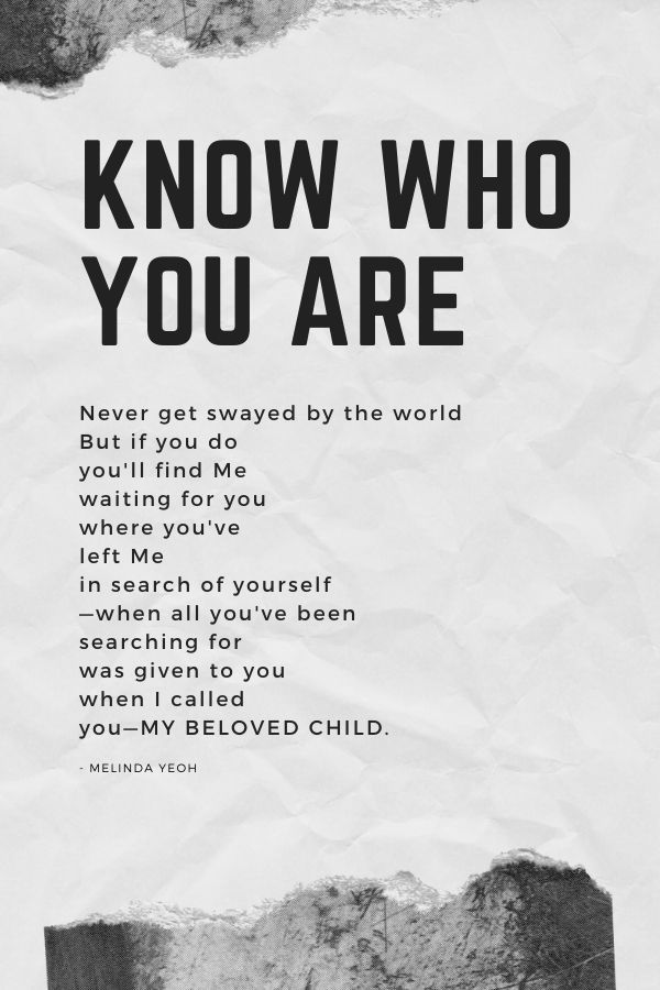 Know who you are, a poem