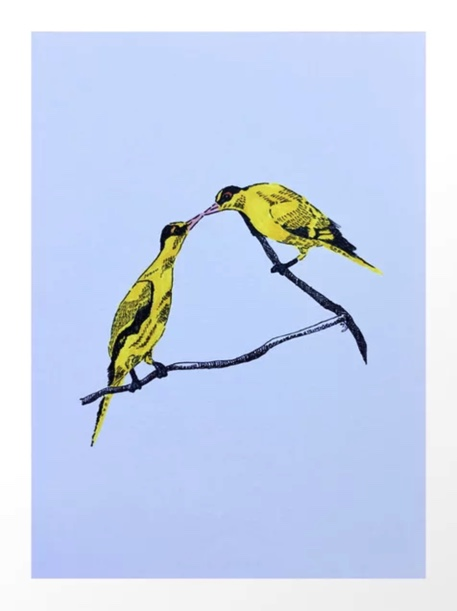 Commitment | line illustration of yellow birds Art Print by melindayeoh. Buy in Society6 https://society6.com/product/commitment5496322_print?curator=melindayeoh