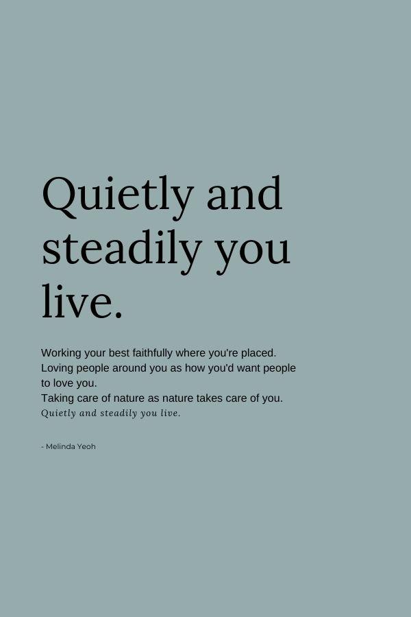 Poem on living a quiet, faithful life